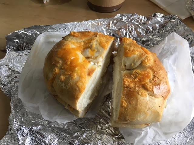 Cheddar Bagel with Plain Cream Chees,e 5 Borough Bagels, West Des Moines, Iowa, Des Moines