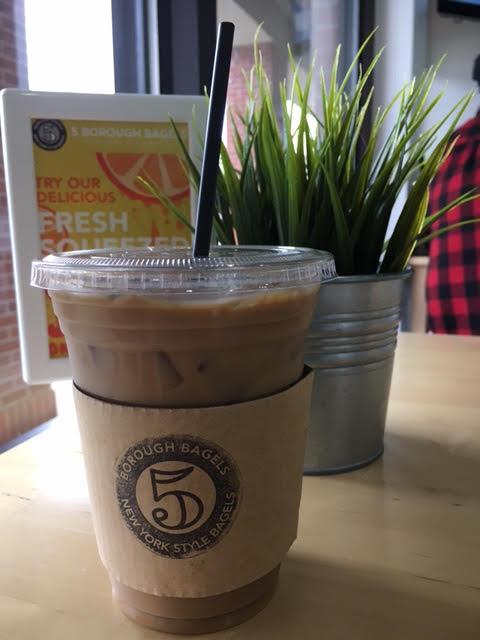 5 Borough Bagels, West Des Moines, Iowa, Des Moines, soy latte, vegan, late, iced latte